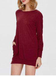 Pocket Slit Long Sleeve Dress with Pocket