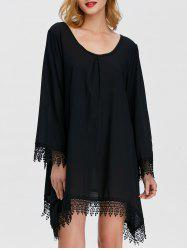 Loose Lace Insert Asymmetrical Dress With Sleeves - BLACK