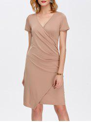 Drape Asymmetrical V Neck Dress With Short Sleeves