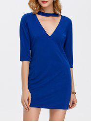 Mini V Neck Bodycon Dress With Sleeves