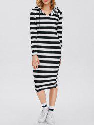 Midi Striped Hooded Bodycon Dress