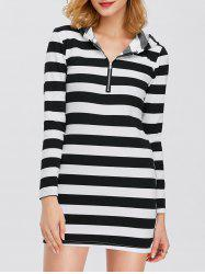 Half Zip Hooded Striped Dress