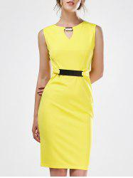 Keyhole Sleeveless Mini Sheath Dress - YELLOW