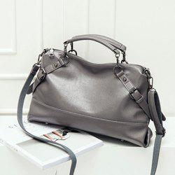 Straps Faux Leather Crossbody Tote Bag