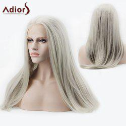 Adiors Long Side Parting Silky Straight Synthetic Lace Front Wig - SILVER WHITE