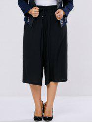 Plus Size High Waisted Drawstring Palazzo Capri Pants