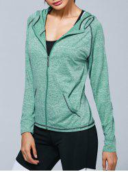 Zip Up Heathered Hooded Active Jacket -