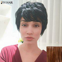 Siv Hair Short Fluffy Straight Side Bang Pixie Human Hair Wig