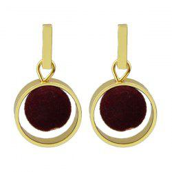 Pom Hollow Out Circle Pendant Earrings