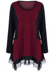 Plus Size Lace Panel Tunic T-Shirt