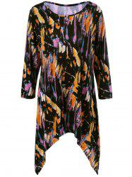 Plus Size Splatter Paint Tunic T-Shirt