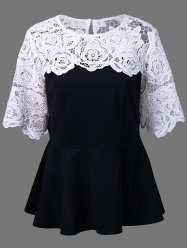 Plus Size Lace Insert Peplum Top - WHITE AND BLACK