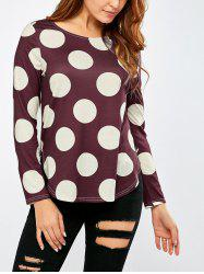Polka Dot High Low Hem T-Shirt -