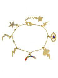 Rhinestone Moon Star Lightning Eye Charm Bracelet