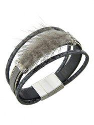 Artificial Leather Rhinestone Fuzzy Wrap Bracelet