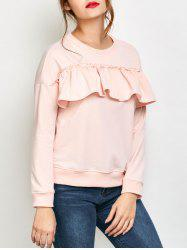 Jewel Neck Ruffles Sweatshirt