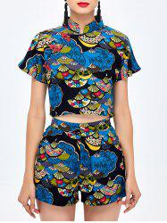 Print Shorts with Qipao Crop Top