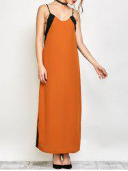 Color Block Maxi Slip Dress