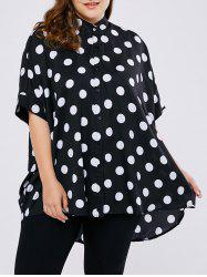 Plus Size Dolman Sleeve Polka Dot Blouse