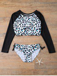 Leopard Stripe Long Sleeve Bikini Set