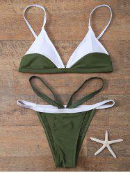 Plunging Neck Color Block String Bathing Suit - ARMY GREEN M
