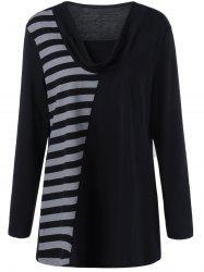 Plus Size Cowl Neck Striped Trim Tee