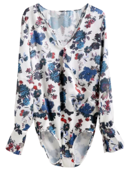 Floral Surplice Long Sleeve Bodysuit