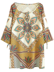 Ralgan Sleeve Printed Ethnic Style Mini Tunic Dress -