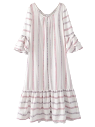 A Line Flare Sleeve Striped Maxi Dress