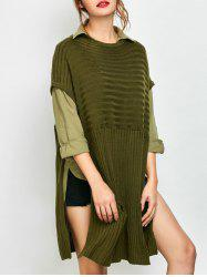 Oversized Side Slit Sweater With Pockets