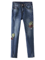 Floral Frayed Embroidered Jeans - DEEP BLUE