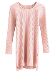 Cut Out Ribbed Jumper Short Dress with Sleeves