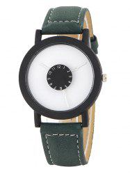 Faux Leather Band Analog Quartz Watch - GREEN