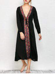 Printed Long Sleeve Vintage Dress