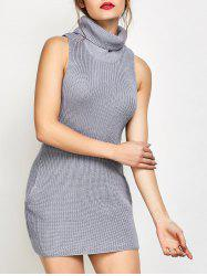 Roll Neck Tank Fitted Sweater Dress - GRAY S