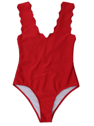 V Neck Scalloped One Piece Bathing Suit - DEEP RED L