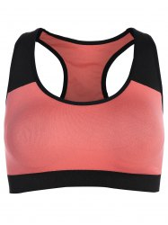 Pullover Push Up Racerback Sports Yoga Bra - BLACK AND PINK