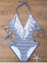 Halter Tassels Striped One Piece Monokini Swimwear
