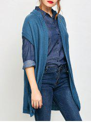 Short Sleeve Long Knit Cardigan with Pockets