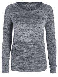 Heathered Thumbhole Long Sleeve Gym Top - GRAY