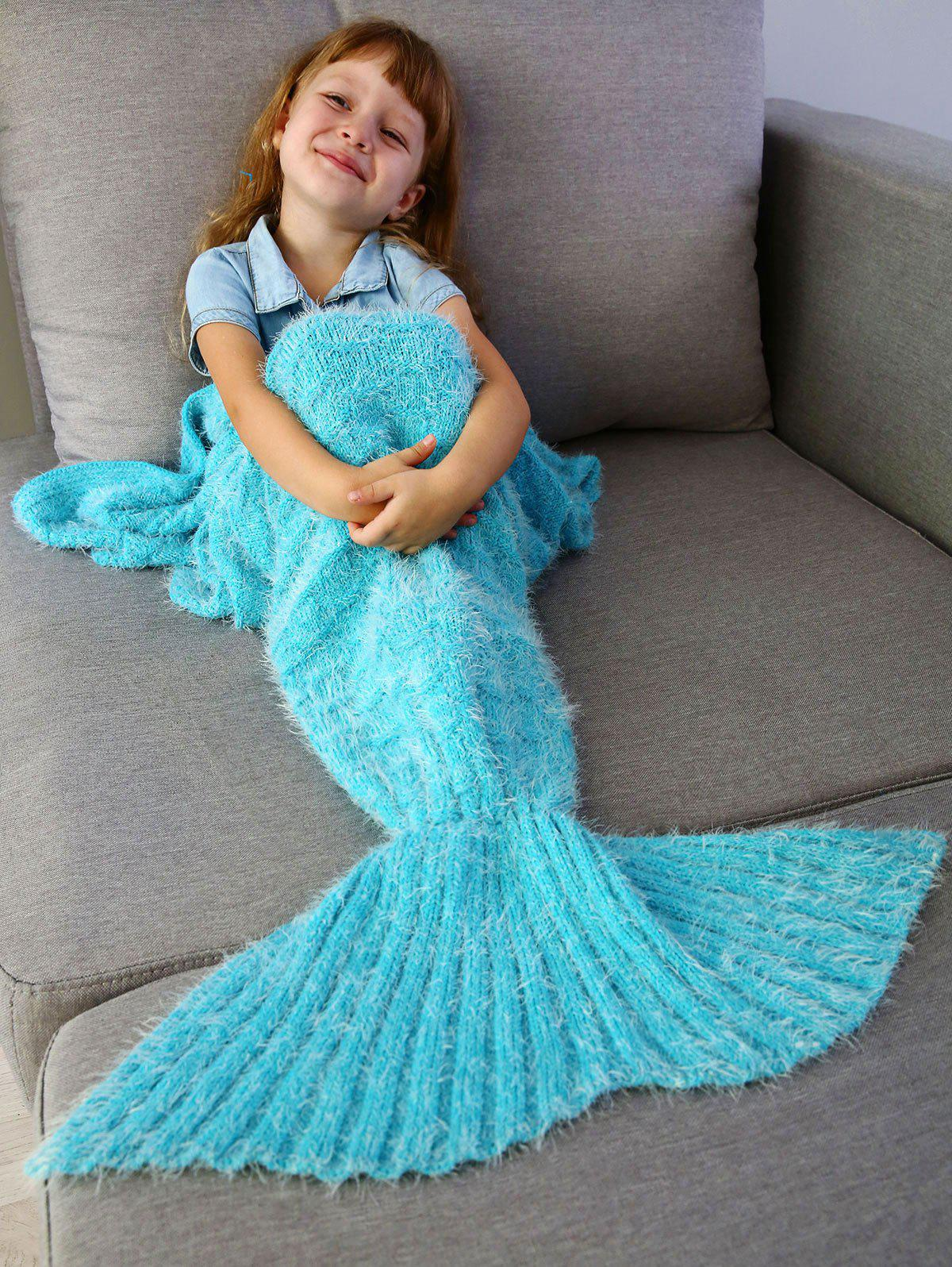Outfit Kids' Crochet Knitted Faux Mohair Mermaid Blanket Throw
