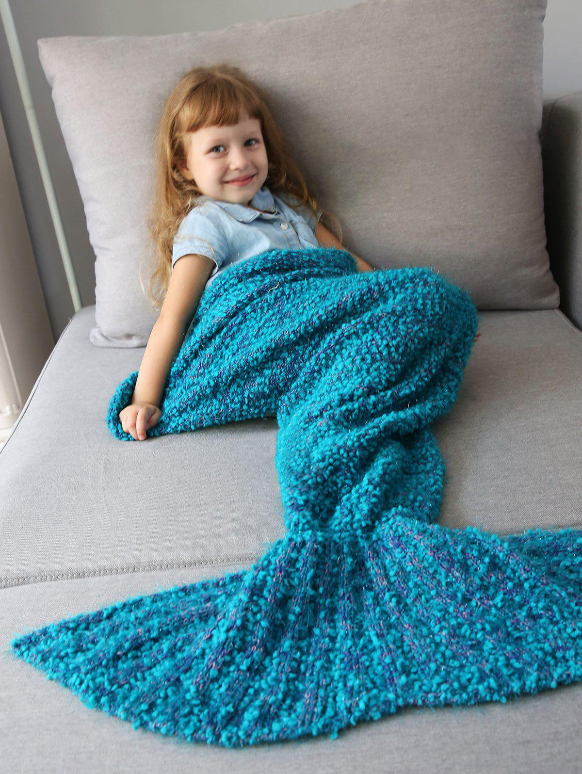 Chic Home Decor Crochet Knitted Imitation Shearling Mermaid Blanket Throw For Kids