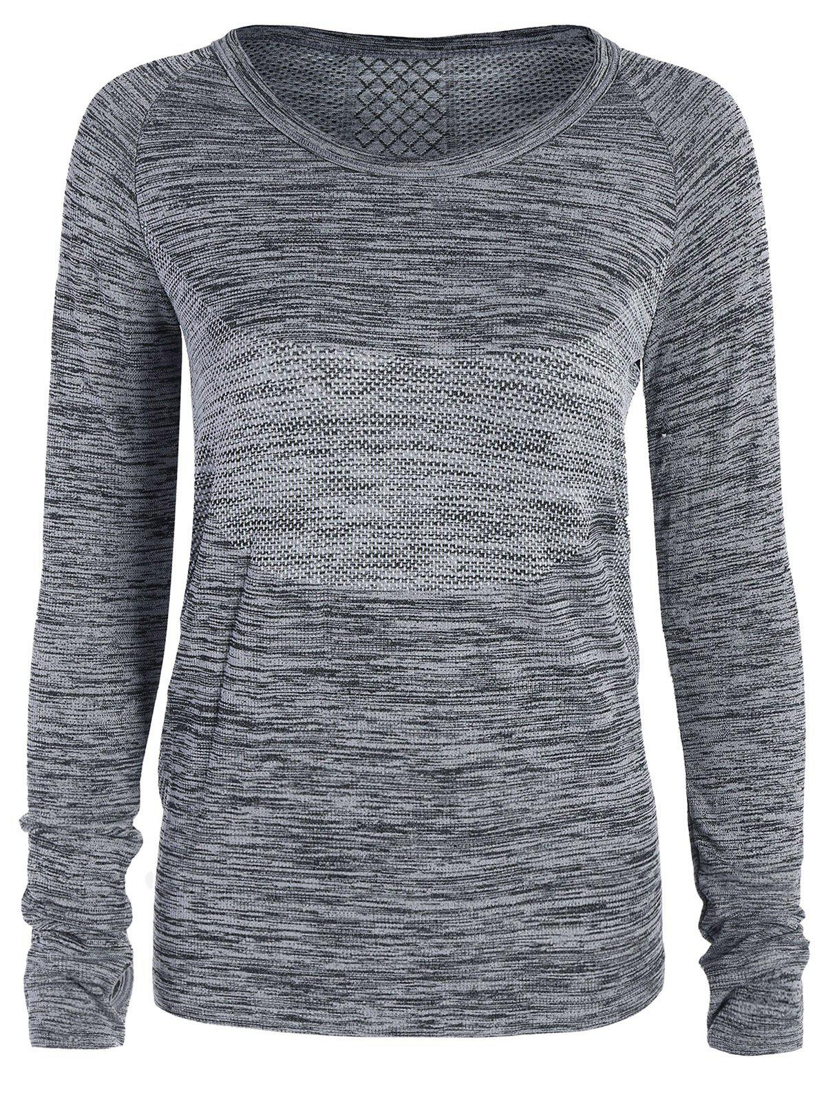 Heathered Thumbhole Long Sleeve Gym TopWOMEN<br><br>Size: L; Color: GRAY; Material: Nylon,Polyester,Spandex; Shirt Length: Regular; Sleeve Length: Full; Collar: Round Neck; Pattern Type: Others; Weight: 0.2070kg; Package Contents: 1 x Tee;