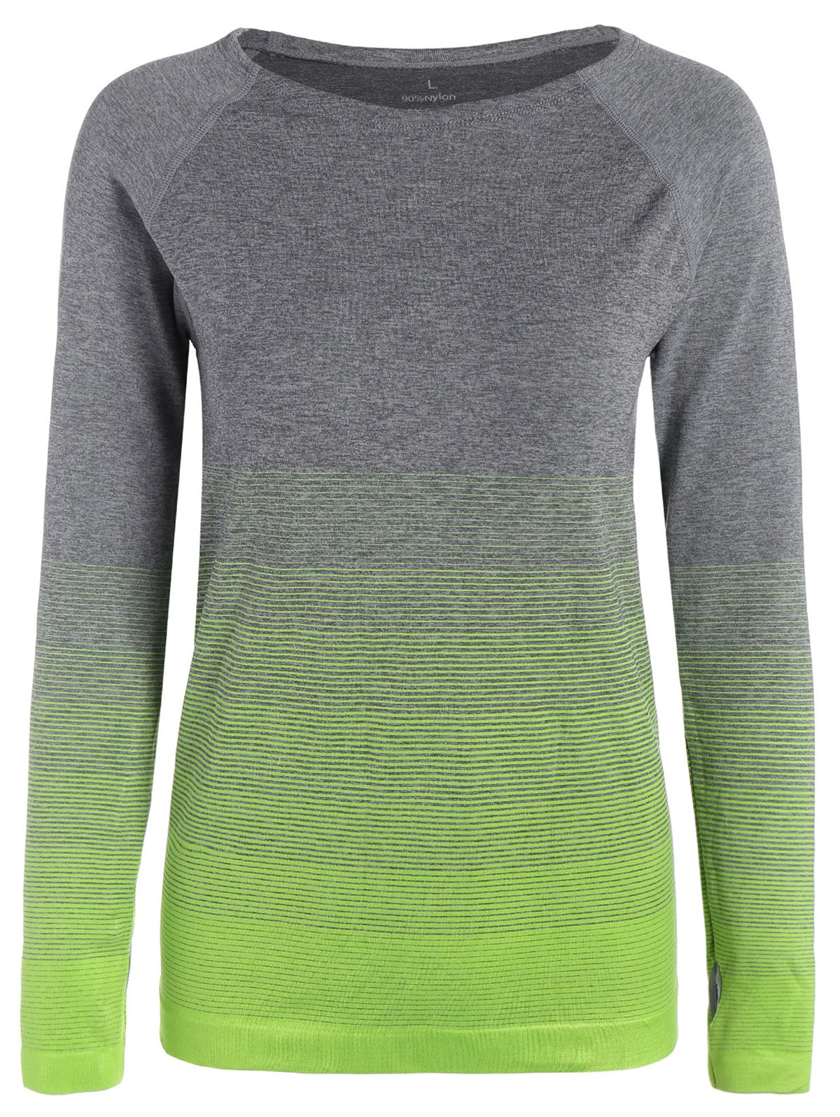 Ombre Long Sleeve Running Gym Top With Thumb HoleWOMEN<br><br>Size: M; Color: NEON GREEN; Material: Nylon,Polyester,Spandex; Shirt Length: Regular; Sleeve Length: Full; Collar: Round Neck; Pattern Type: Striped; Weight: 0.248kg; Package Contents: 1 x Tee;