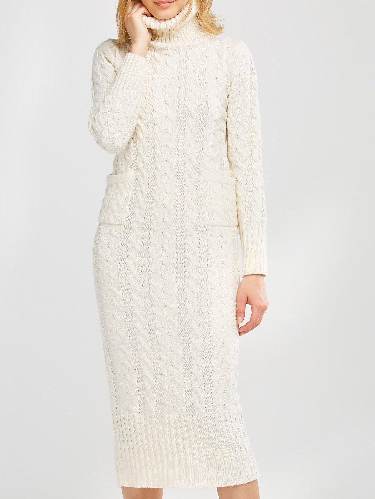 23d183e4733 32% OFF  Long Sleeve Midi Cable Knit Sweater Dress