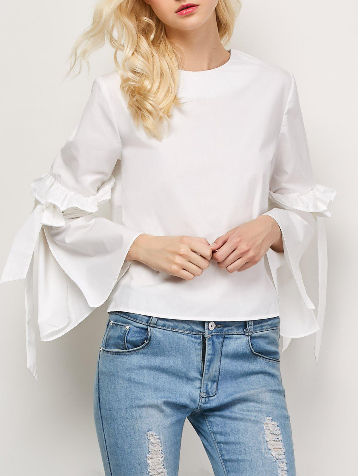 Store Flounced Oversized Flare Sleeve Blouse