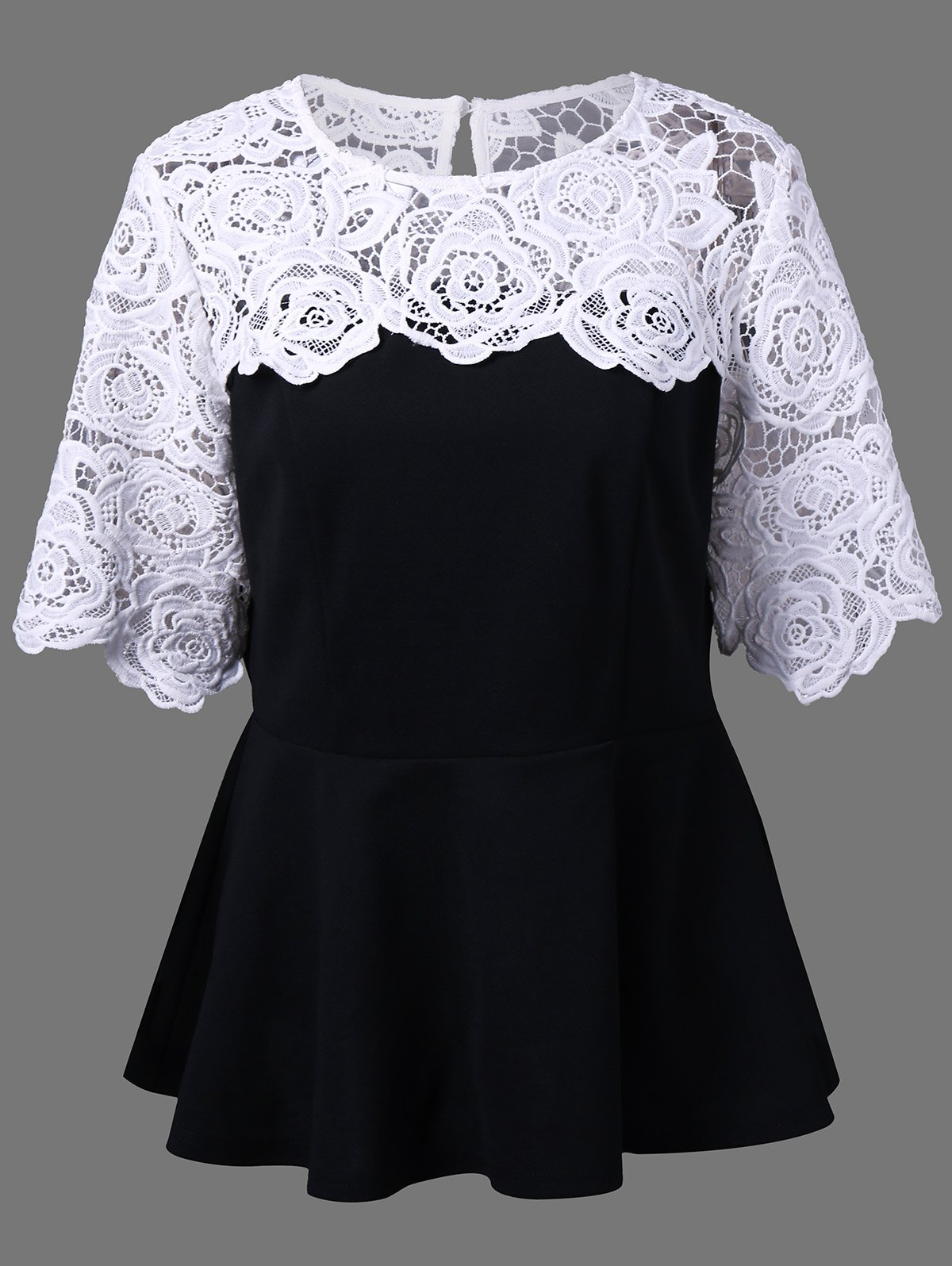 Plus Size Lace Insert Peplum TopWOMEN<br><br>Size: 5XL; Color: WHITE AND BLACK; Material: Polyester,Spandex; Shirt Length: Long; Sleeve Length: Short; Collar: Round Neck; Style: Fashion; Season: Fall,Spring,Summer; Embellishment: Lace; Pattern Type: Others; Weight: 0.320kg; Package Contents: 1 x Top;