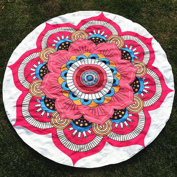 Outfit Round Beach Throw with Big Handpainted Floral Printed