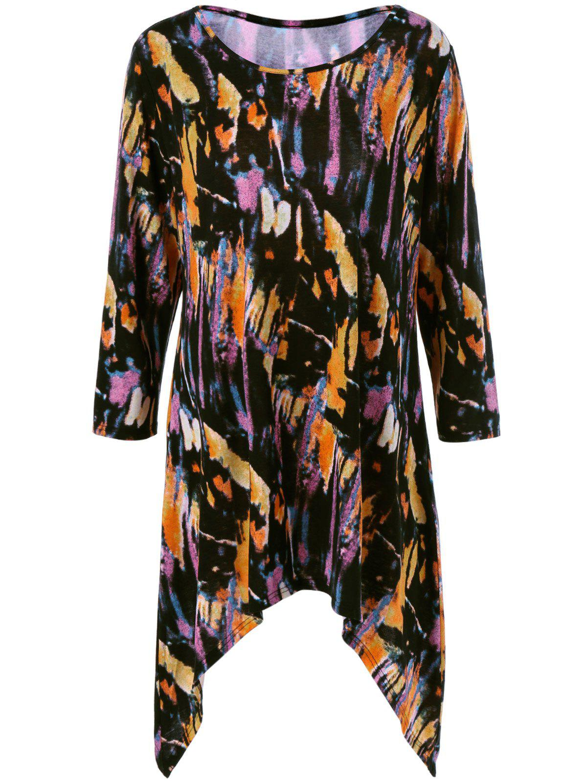 Sale Plus Size Splatter Paint Tunic T-Shirt