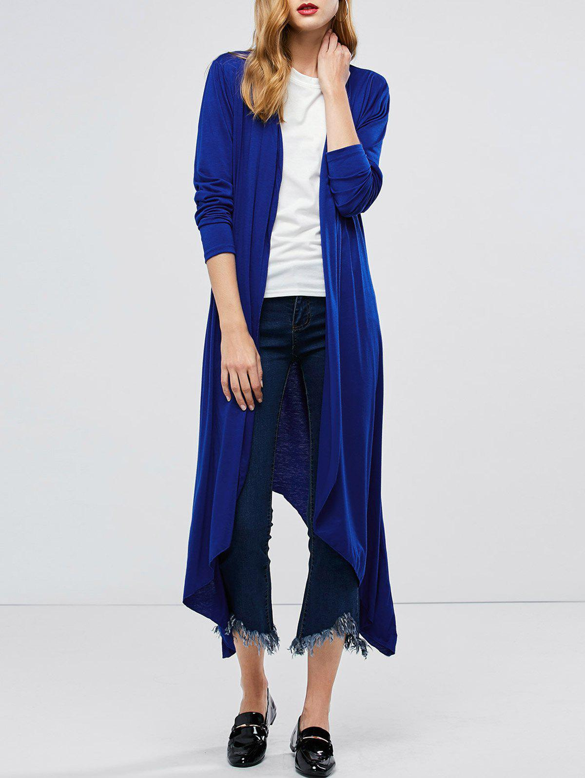 Trendy Longline Collarless Maxi Duster Coat
